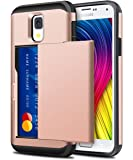 Galaxy S4 Case, ELOVEN Galaxy S4 Wallet Case Slide Card Slot Holder Shockproof Heavy Duty Protection Shell Soft Rubber Bumper Anti-Scratch Hard Cover for Galaxy S4 - Rose Gold