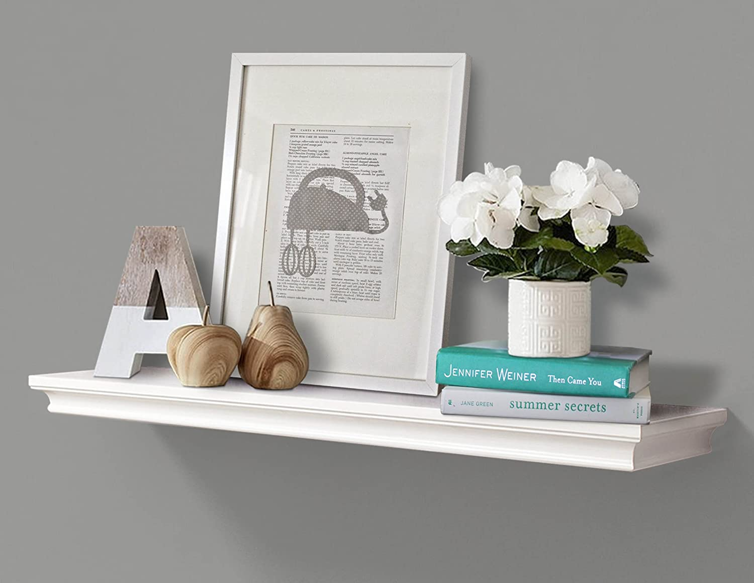 "AHDECOR Floating Shelves Wall Mounted, Deeper Wall Storage Shelf for Home  Décor, Super Sturdy, Easy to Install, White, 36"" Wide, 7 75"" Deep"