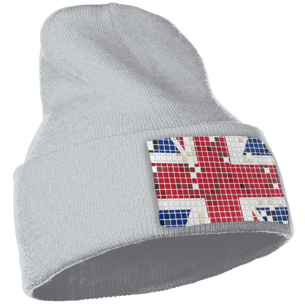 Vintage England Flag Hat for Men and Women Winter Warm Hats Knit Slouchy Thick Skull Cap Black