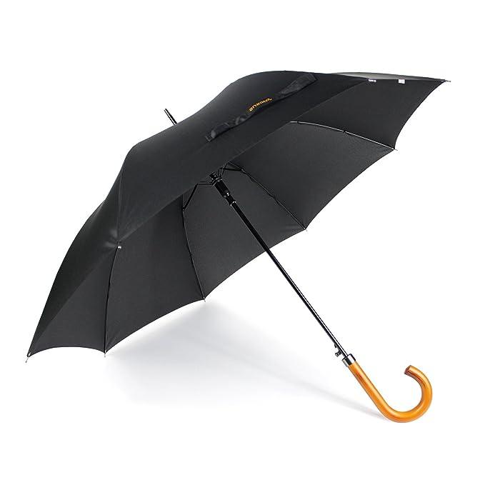 Severyn Paraguas automatico para caminar con mango de madera negro liso (Talla Única/Negro): Amazon.es: Ropa y accesorios