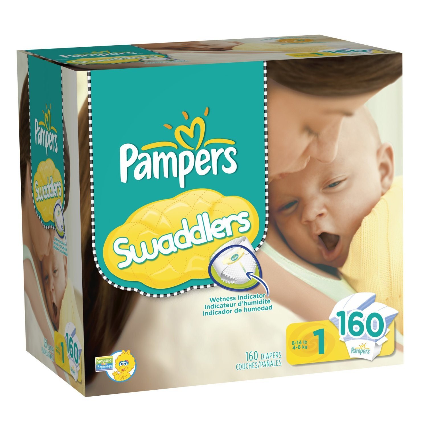 Amazon.com: Pampers Swaddlers Size 1 Baby Diapers 160 Count: Health & Personal Care
