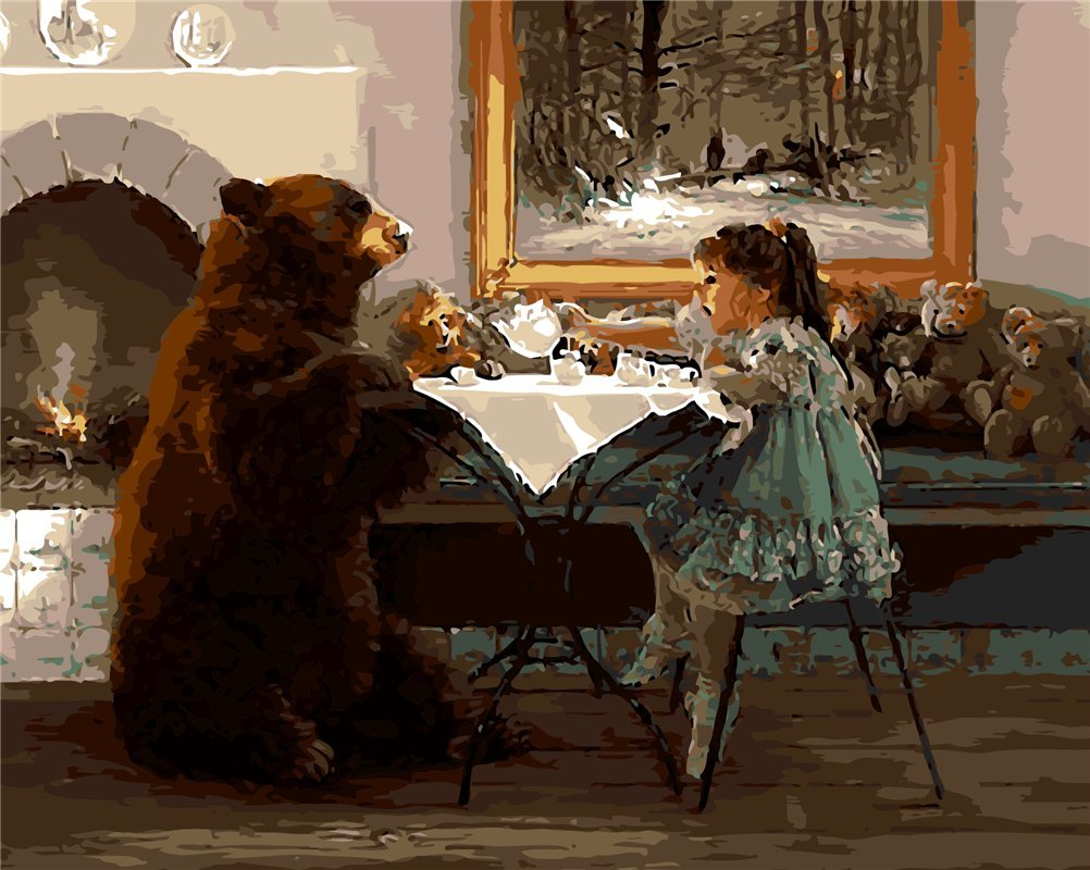 CaptainCrafts New Paint by Numbers 16x20 for Adults Beginner Children, Kids LINEN Canvas - Girl Big Bear, Best Friend (With Frame)