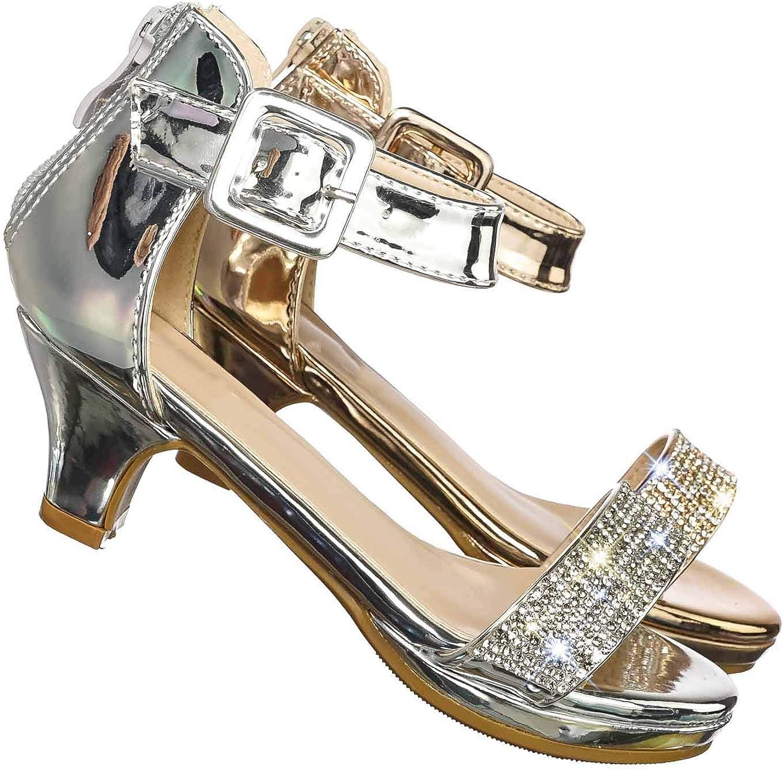 Aquapillar Girls Children Heel Princess Dress Sandal Sparkly Rhinestone Glitter