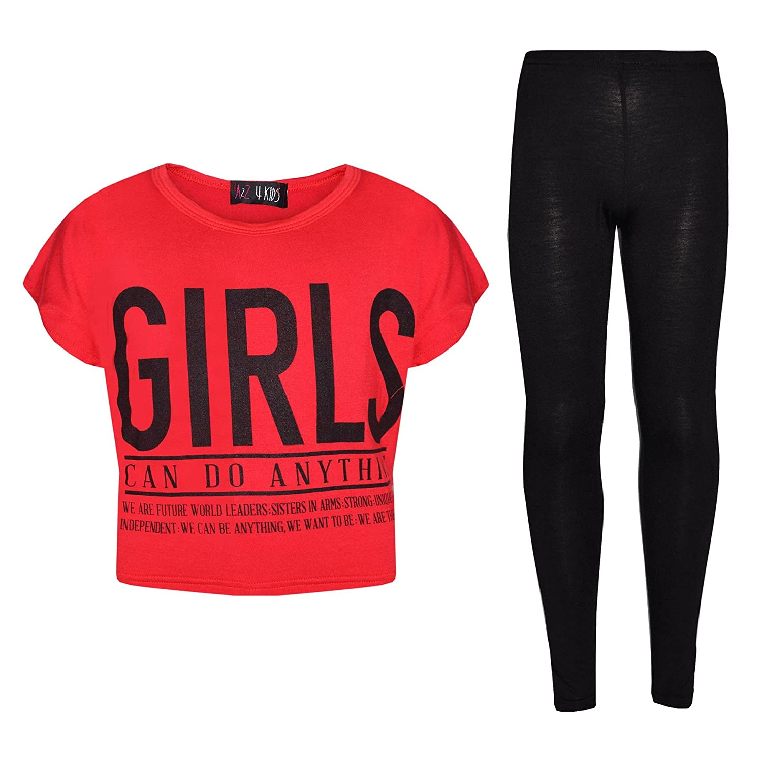A2Z 4 Kids® Girls Tops Kids Designer's Girls Can Do Anything Print Trendy Crop Top & Fashion Legging Set New Age 7 8 9 10 11 12 13 Years
