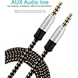 Mobile Gabbar AUX Cable ( 1.5 Meters / 5 Ft. - Alloy Shell Stereo Output )Nylon Braided AUX Audio Cable With 3.5mm for Car Stereos, Smartphones, iPod (Gold / 1.5M)