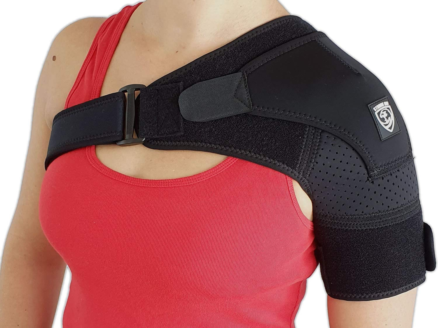 Shoulder Brace Support by Strong AID. for Rotator Cuff Pain AC Joint Dislocated Frozen Tear Injury Adjustable Compression Stability Sleeve (Black, S-M)