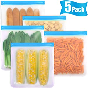 Reusable Gallon Bags - 5 Packs 1 Gallon Freezer Bags Bread Box Large Capacity Ziplock Bags, Leakproof BPA Free Extra Large Storage Bags for Marinate Sandwich, Snack.