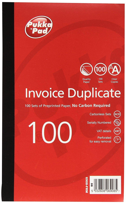 Pukka Invoice Duplicate Book NCR Carbonless 1-100 Pukka pads