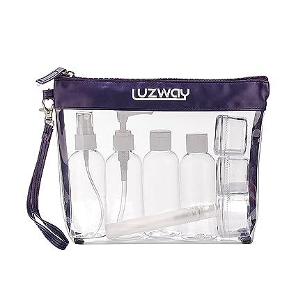 Neceser Transparente, LUZWAY Bolsa de Cosméticos Impermeable, Bolsa de Aseo Claro PVC + 8 Botellas de Viaje (MAX.100ml), Transporte de Líquidos en ...