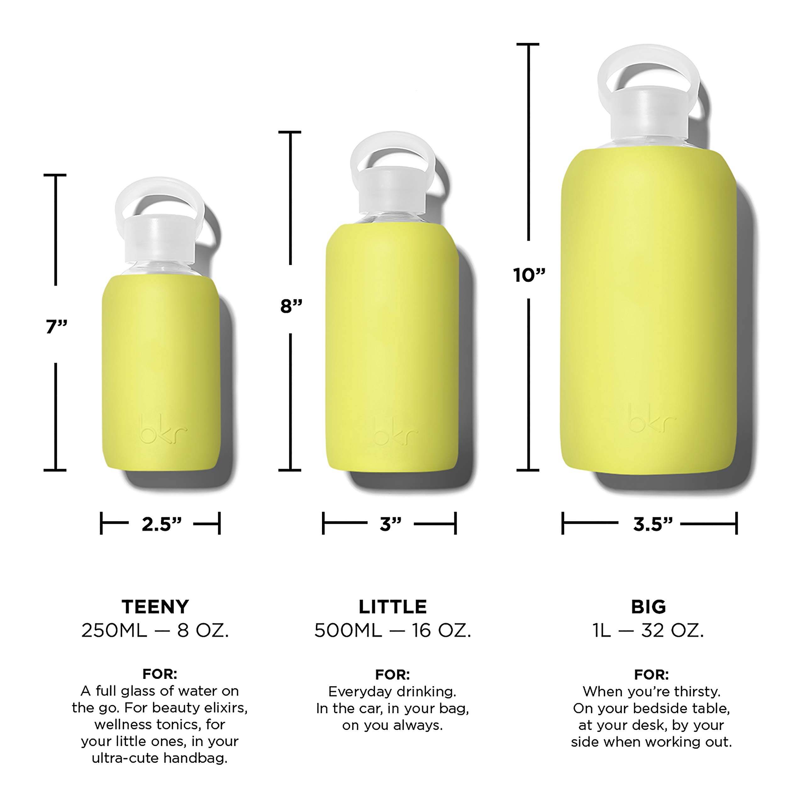 bkr Gigi Glass Water Bottle with Smooth Silicone Sleeve for Travel, Narrow Mouth, BPA-Free & Dishwasher Safe, Opaque Lime Yellow, 1 Count