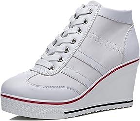 896da675e729 mewow Womens Casual Platform Plus Size High Top Wedge Heel Zipper Canvas  Shoes Fashion Pump Sneaker