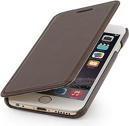 StilGut housse Book Type sans clip, en cuir pour iPhone 6s Plus (5.5 pouces), marron acajou