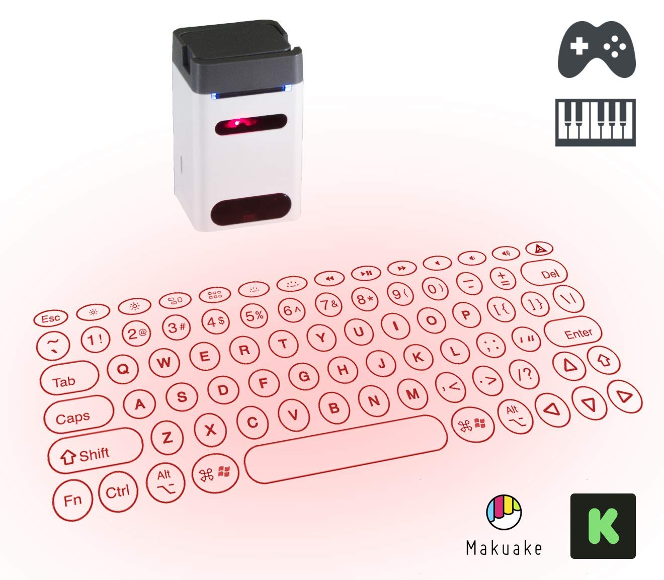 Serafim Keybo - World's Most Advanced Projection Keyboard & Piano (Black)