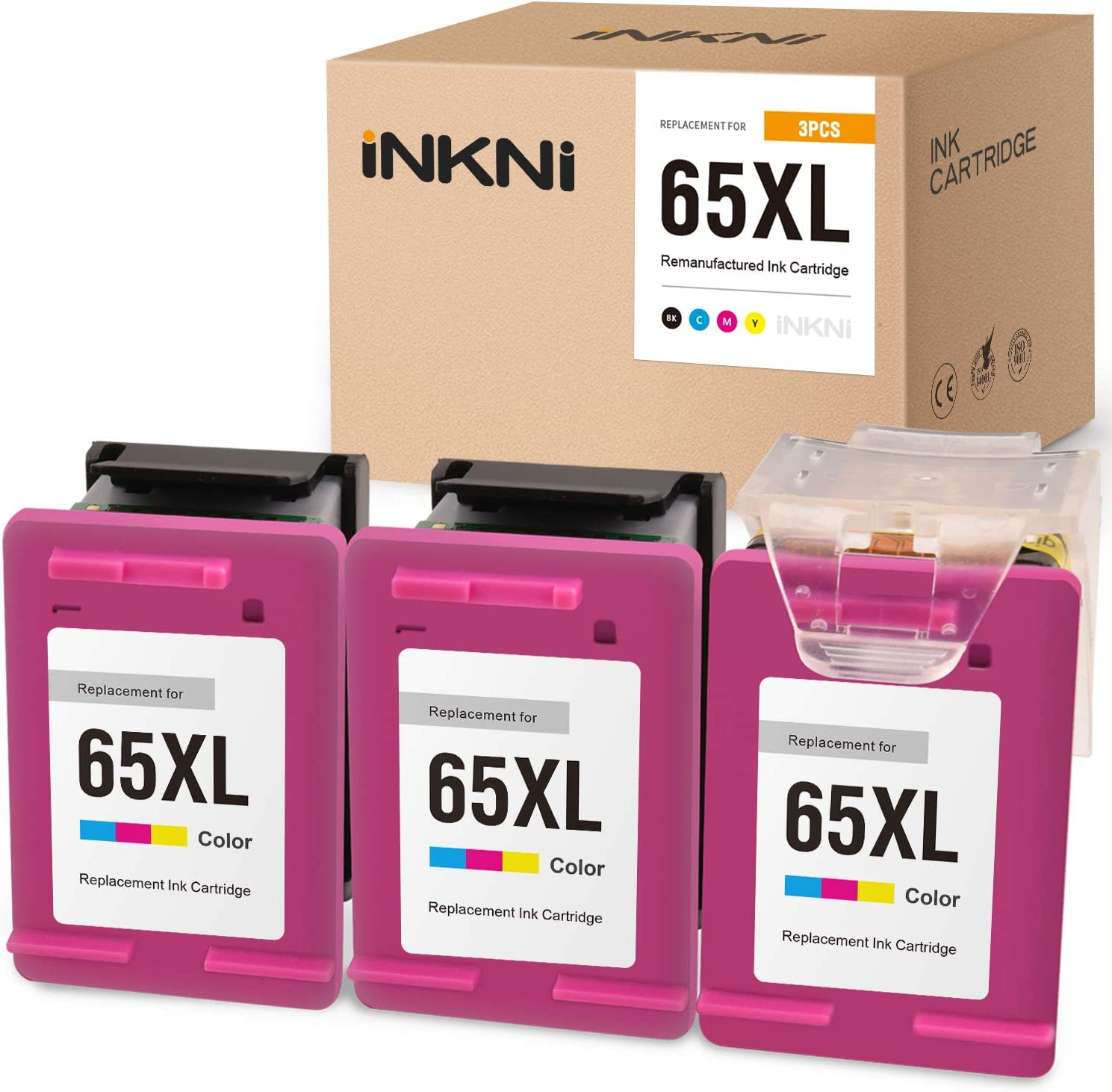 INKNI Remanufactured Ink Cartridge Replacement for HP 65XL 65 XL N9K03AN Recharge Design for Envy 5055 5052 5010 DeskJet 3752 2662 3755 2652 2655 3758 3720 3722 2624 (Print Head+Cartridges, 3-Color)