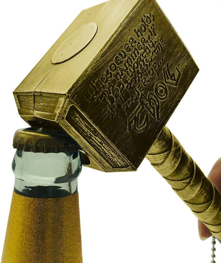 Bottle Opener,4HOMART Funny Hammer Shape Beer Opener Mjolnir Hammer Keychain for Bartenders Party Pub Bar Wine Corkscrew Beverage Wrench (bronze)