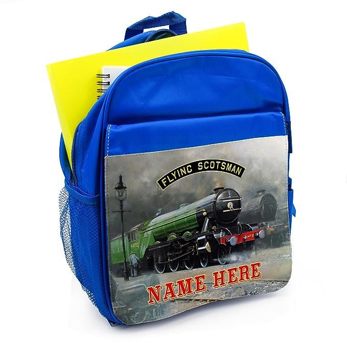 f76b4f484ed9 Personalised School Bag FLYING SCOTSMAN STEAM TRAIN Boys Backpack Book Kids  Rucksack - Blue FST01  Amazon.co.uk  Luggage