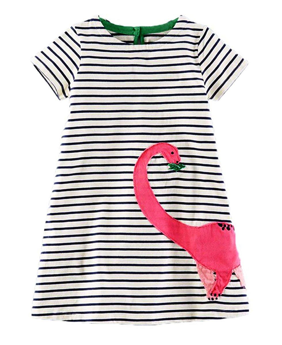 lymanchi Toddler Girl Short Sleeve Casual Cartoon Striped Applique T-Shirt Dress 909554 2T