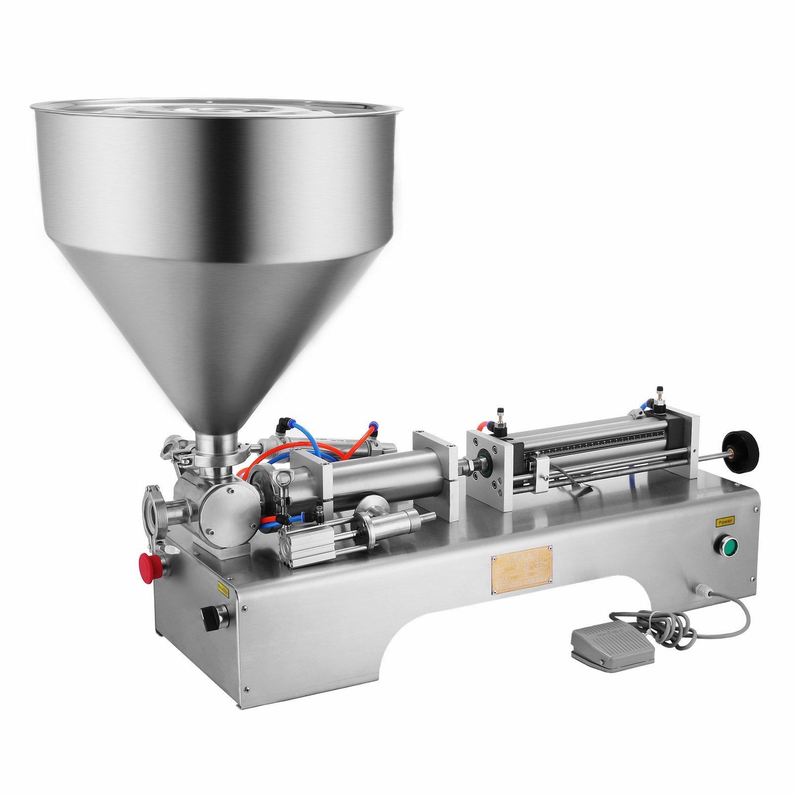 OrangeA Pneumatic Filling Machine 50-500ml Semi-auto Pneumatic Liquid Filling with 30L Hopper Liquid Filling Machine for Liquid and Paste Filling