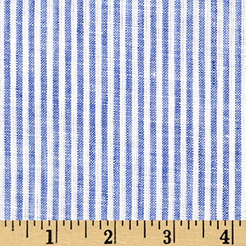 TELIO Umbria Linen Blue Big Stripe Fabric By The Yard (Umbria Linen)