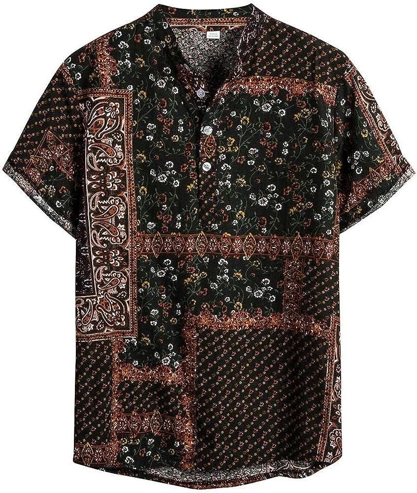 Skang Camiseta Henley Hombre Manga Corta Camisetas Polos Cuello Mao Blusa Tops Tradicional Africana Vintage Suelto Hawaii Shirt: Amazon.es: Ropa y accesorios