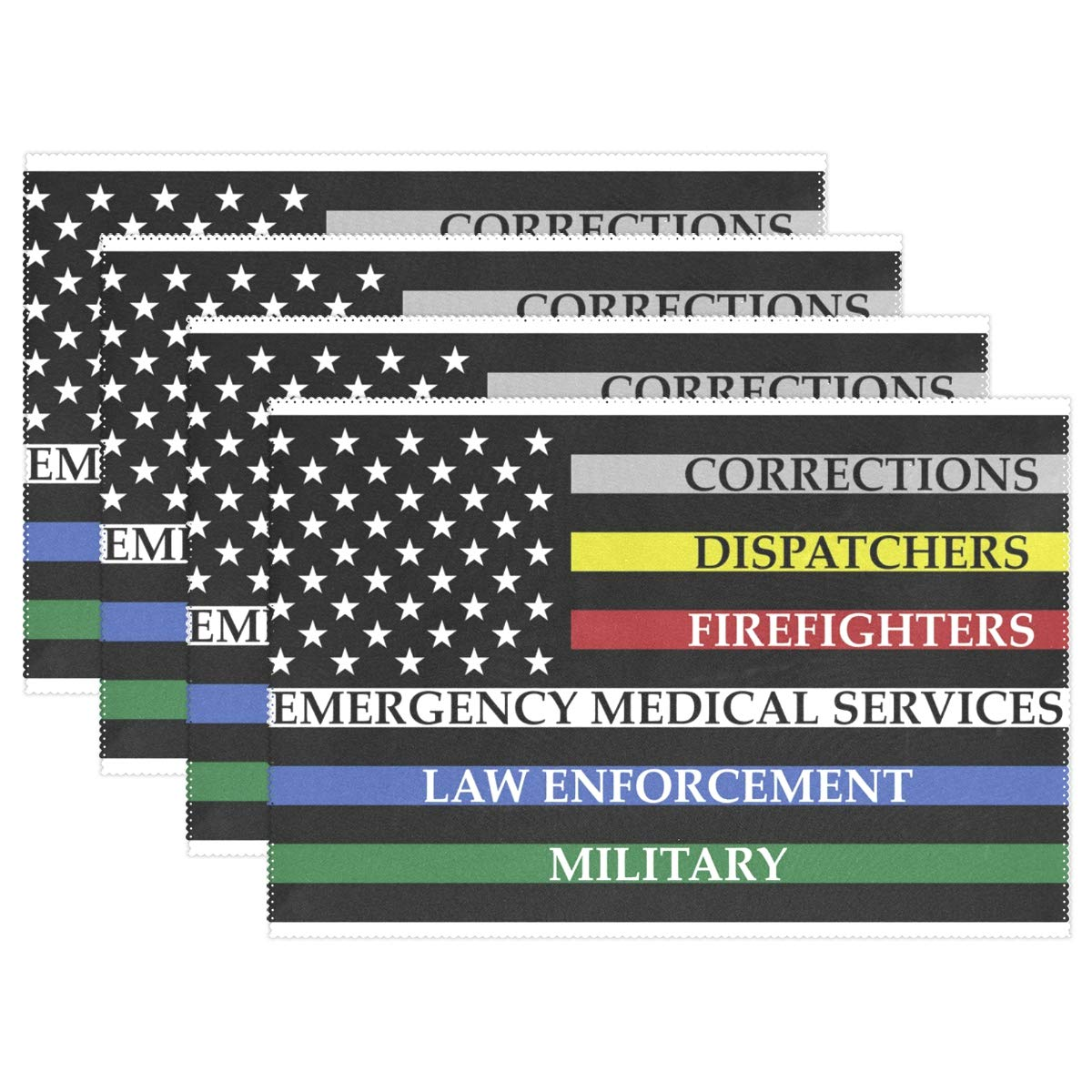 America Flag with Colored Lines Placemats Set of 6 for Kitchen Table Heat Resistant Washable Table Mats