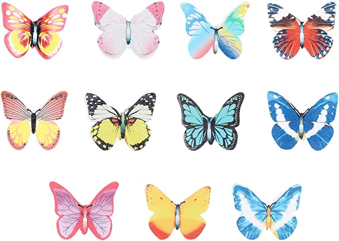 Garneck 40pcs Edible Cupcake Toppers,Butterfly Rice Paper Cake & Cupcake Toppers Christmas Birthday Wedding Party Food Decoration(Assorted Pattern)