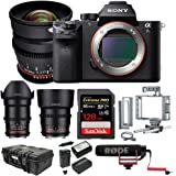 Sony a7S II ILCE7SM2/B E-Mount Mirrorless Camera with Full-Frame Sensor + Rokinon Cine Lens Kit (24mm, 35mm, 85mm)