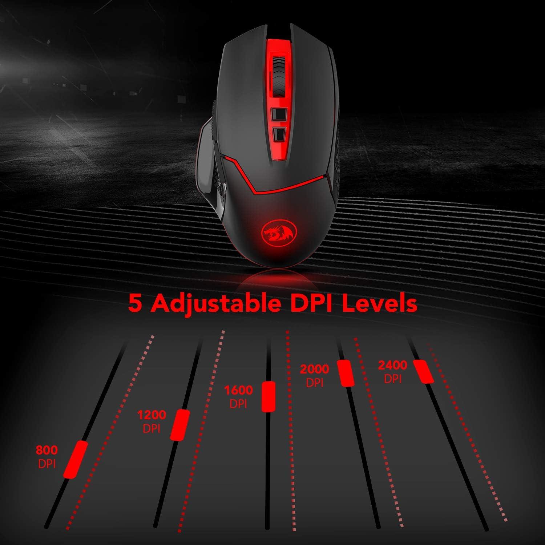 500 Hz Return Rate y 4 modos de retroiluminaci/ón rat/ón con 7 botones programables Redragon M690 4800 DPI Rat/ón /Óptico Inal/ámbrico para PRO Gamers 6 DPI ajustable