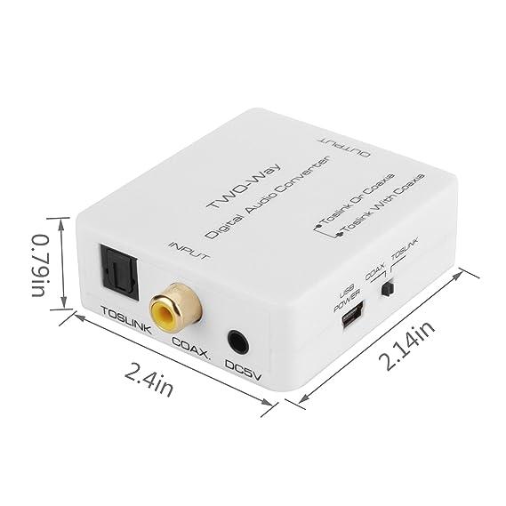 AMANKA 2-Way Audio Bidireccional Adaptador Convertidor Óptico SPDIF Toslink/Coaxial Audio Switcher Divisor de Amplificador de Señal con Cable USB: ...