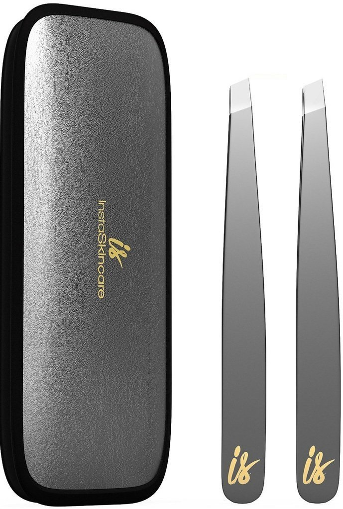 Premium Stainless Steel Tweezers Set, with Perfect Grip! Ideal for Painless Eyebrow Plucking, Ingrown Hair and Tick Removal - Beauty and First Aid Precision Tweezers - 100% Satisfaction Guarantee