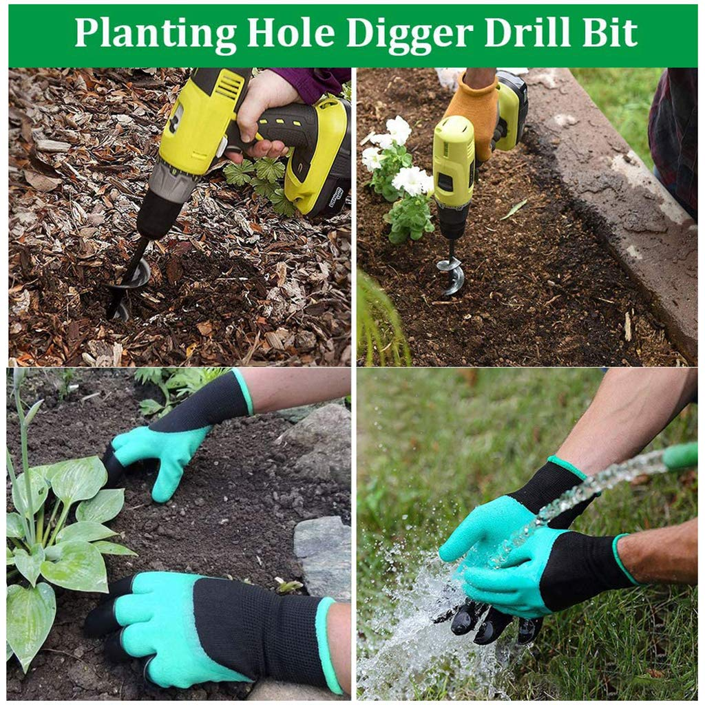 Garden Auger Drill Bit for Most 3//8 Hex Drive Drill 3x10 Plant Flower Bulb Auger Spiral Hole Drill Rapid Planter Bulb Auger Drill bit with Garden Genie Gloves for Garden Planting