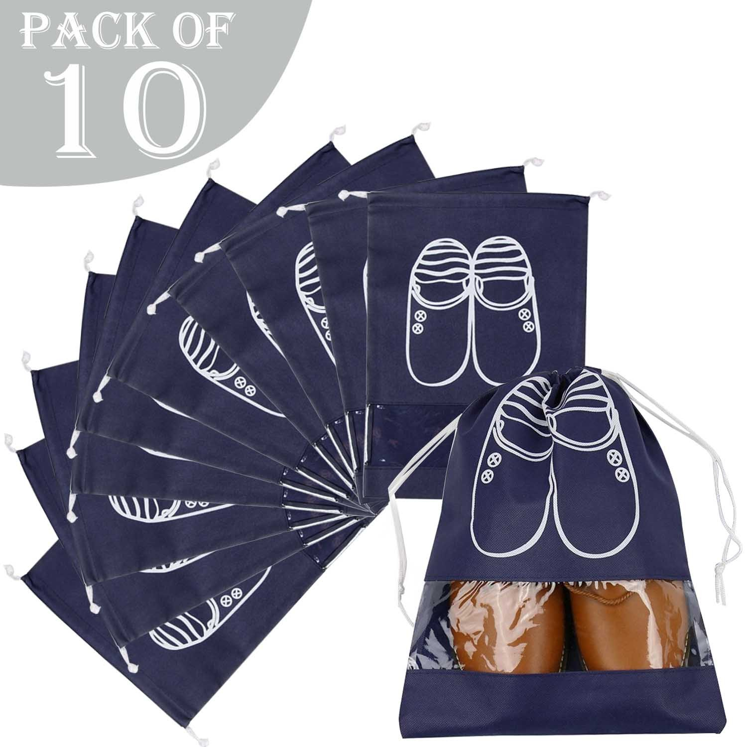 AVESON Pack of 10 Portable Travel Shoe Organiser Bag for Boots, High Heel - Drawstring, Transparent Window, Space Saving Storage Bags, Large Size, Navy Blue