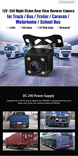 XTRONS 12V-24V Night Vision Rear View Reverse Camera for Truck Bus Trailer Caravan School Bus