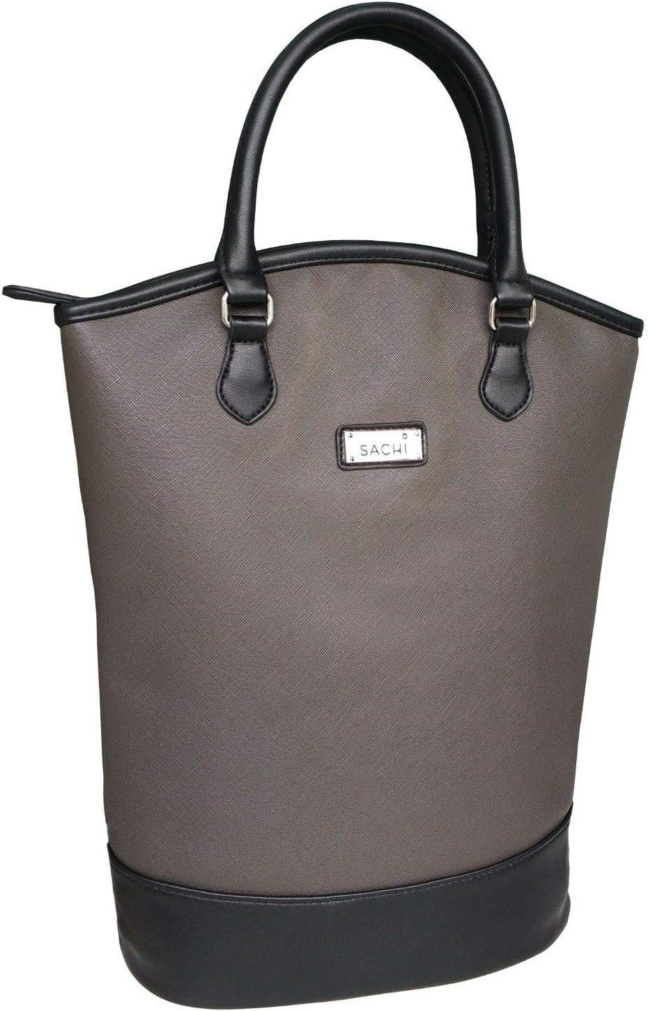 Sachi Wine Bottle Insulated Cooler Bag Tote Carrier Purse Handbag BLACK
