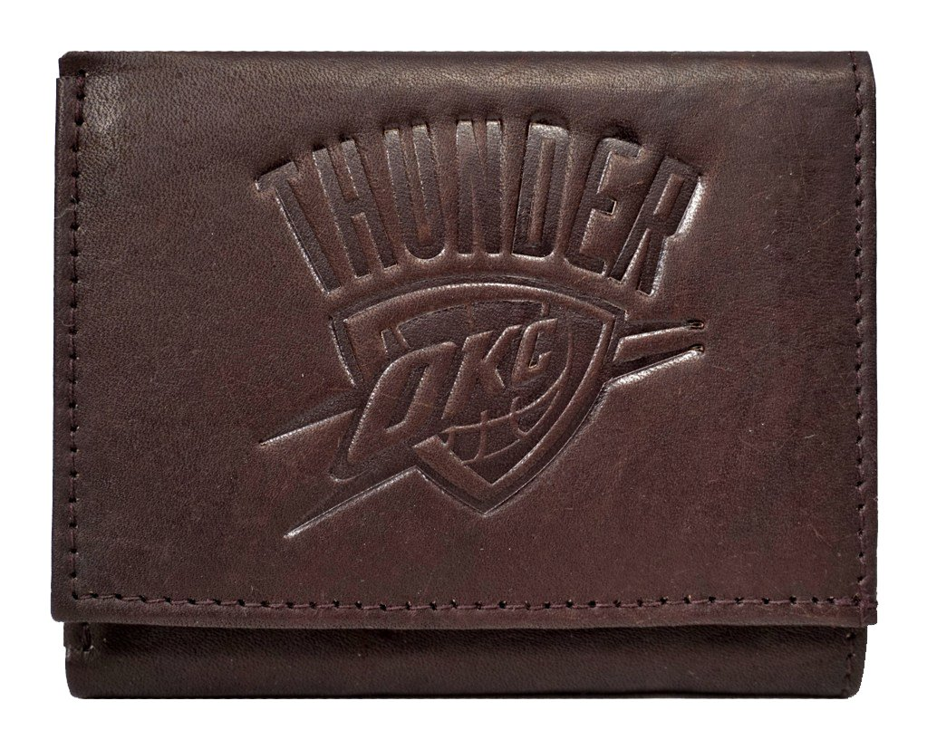 Rico Oklahoma City Thunder NBA Embossed Logo Dark Brown Leather Trifold Wallet