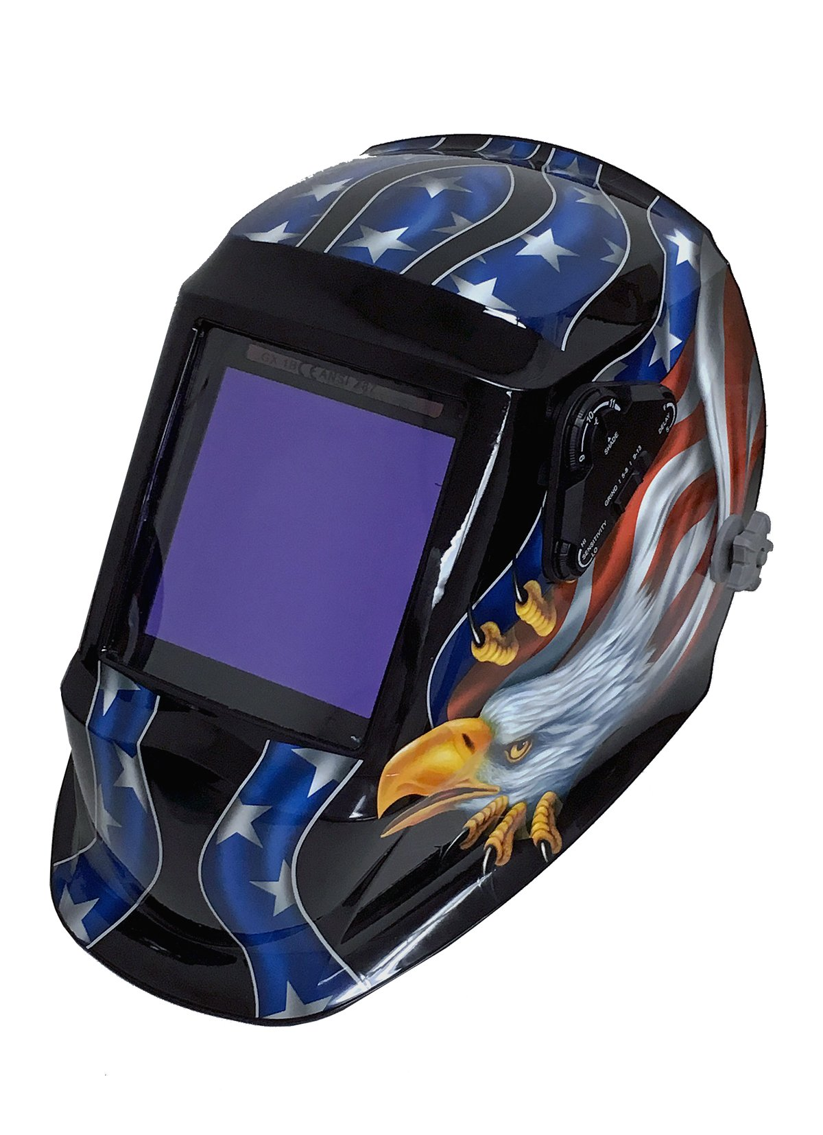 Instapark ADF Series GX990T Solar Powered Auto Darkening Welding Helmet with 4 Optical Sensors, 3.94'' X 3.86'' Viewing Area and Adjustable Shade Range #5 - #13 American Eagle by Instapark