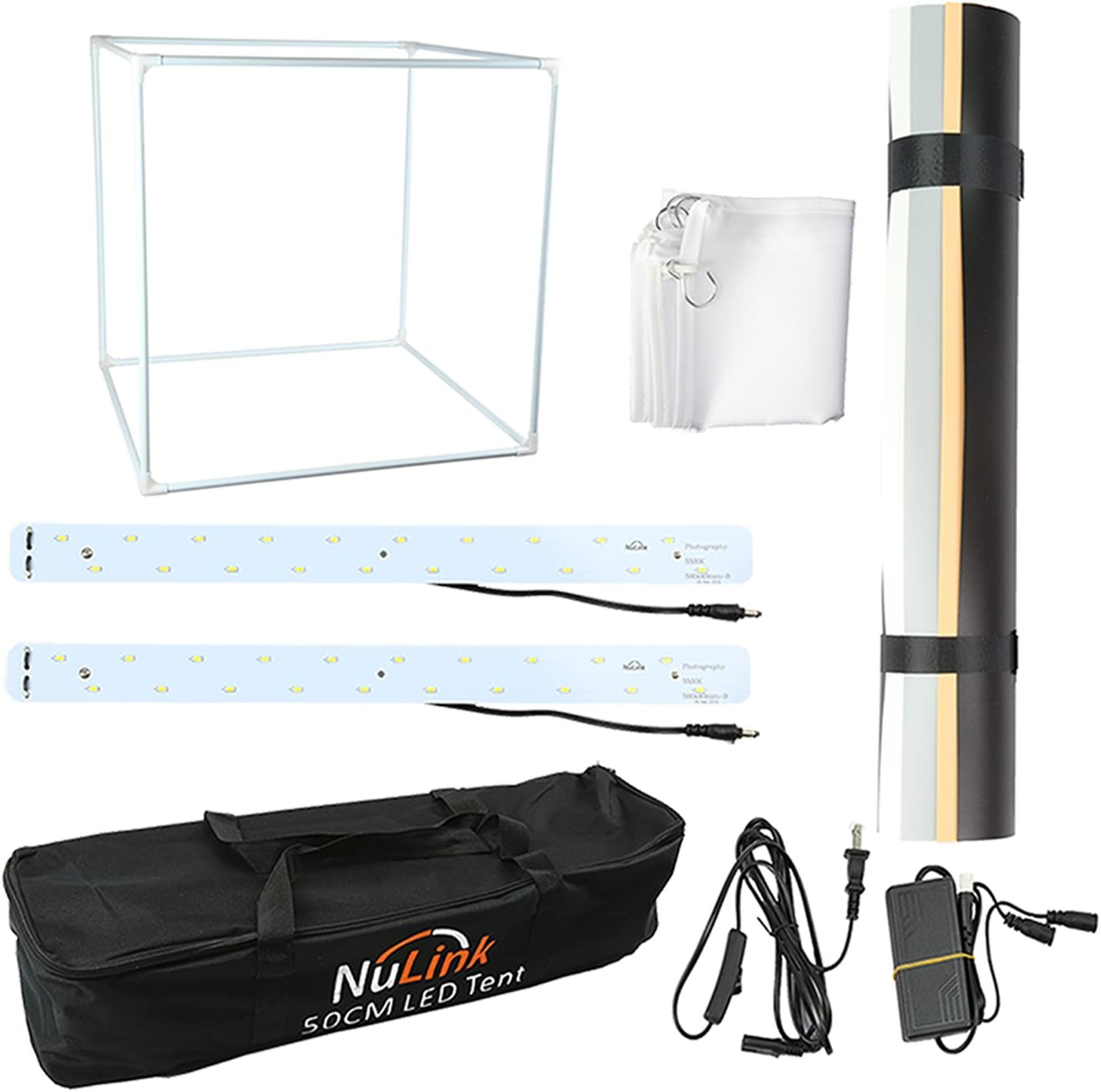 Nulink153; 50cm 20 Photography Photo Studio Shooing Tent Lightning Cube with 2 LED White 5500K Light Strip /& 4 Colors Backdrops