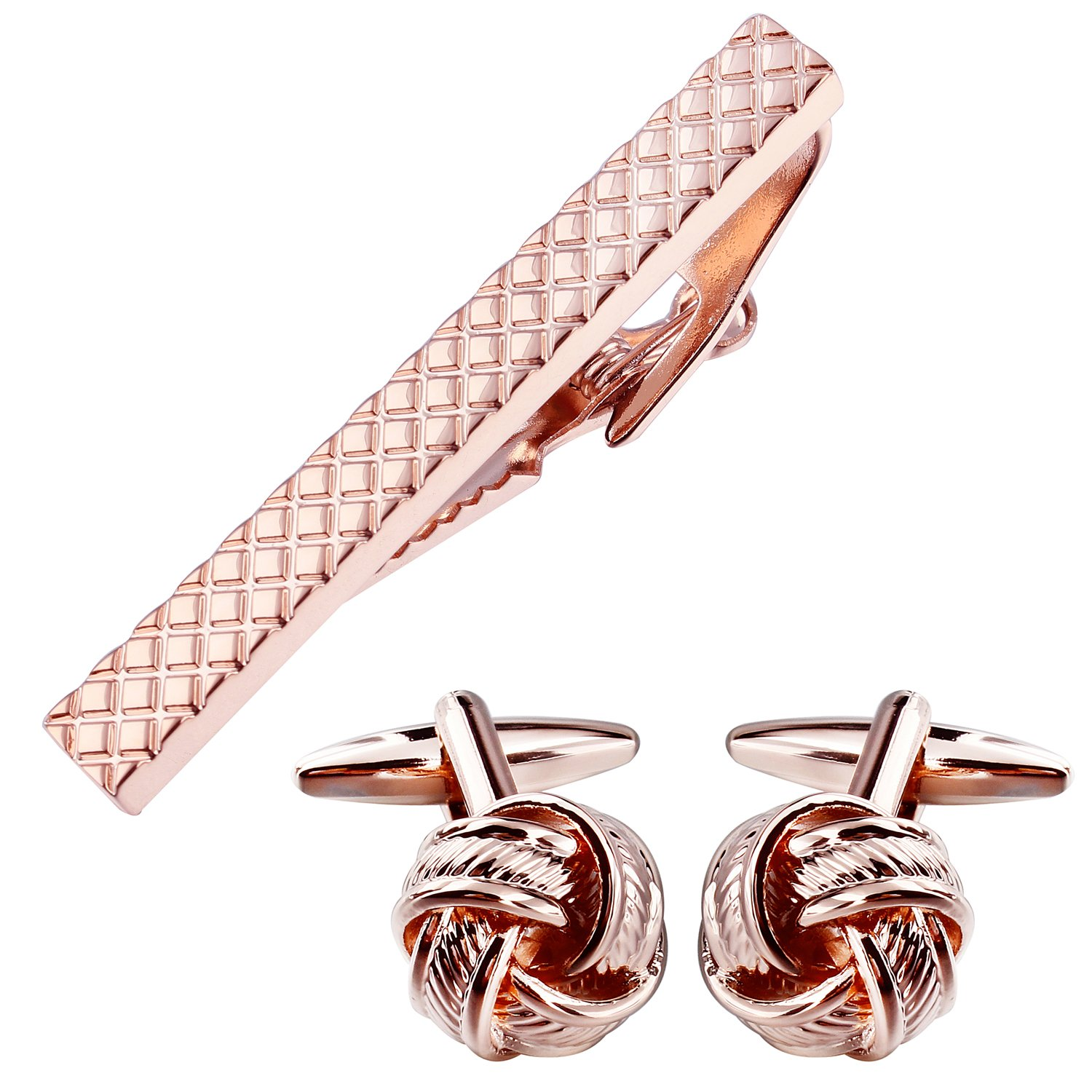 HAWSON Rose Gold Tie Clip Cufflinks Set Mens - Wedding Business Parties in Gift Box