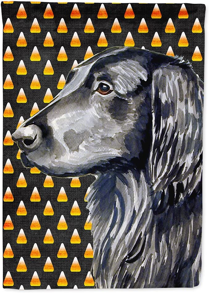 Caroline's Treasures LH9062GF Flat Coated Retriever Candy Corn Halloween Portrait Flag Garden Size, Small, Multicolor