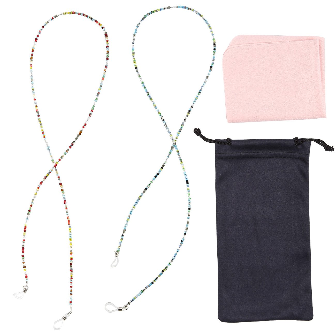 Eyeglass Chain - 4-Piece Set Beaded Glasses Strap, Retainer Cord with Beads, Microfiber Cloth and Polyester Pouch, Ideal for Sunglasses, Reading Glasses, Multicolor, 27 x 27.5 Inches