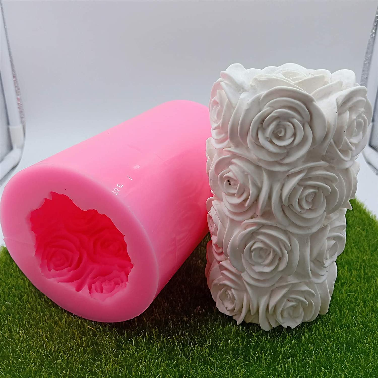 Great Mold Large Rose Cylinder Candle Making Molds Silicone Candle Molds for Candle 3D Candle Mold for Art Wedding Candle