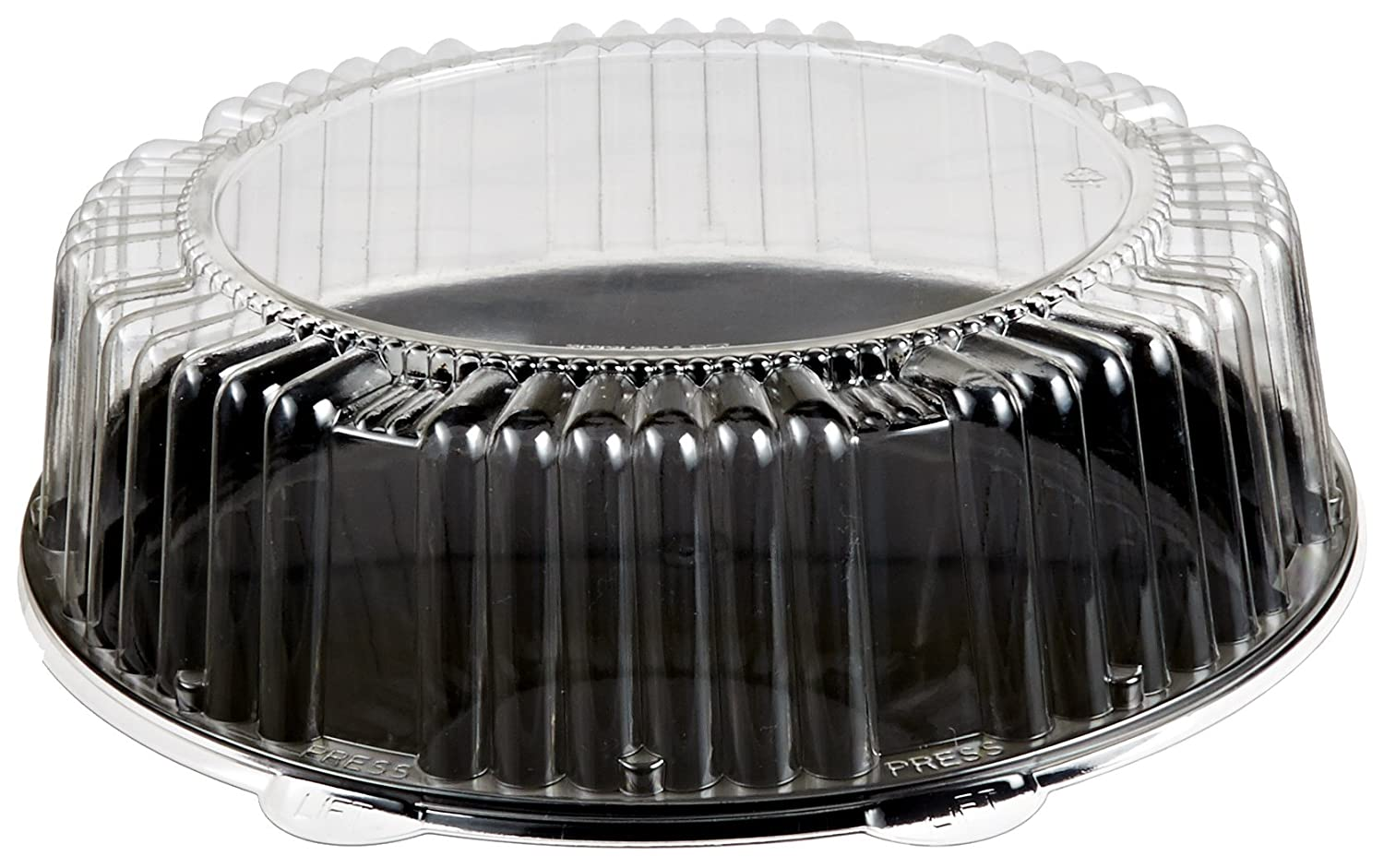 CheckMate Plastic Round Catering Tray and Dome Lid Combo, Clear/Black, 12-Inch (25-Count) WNA Inc. ACP912BLPET