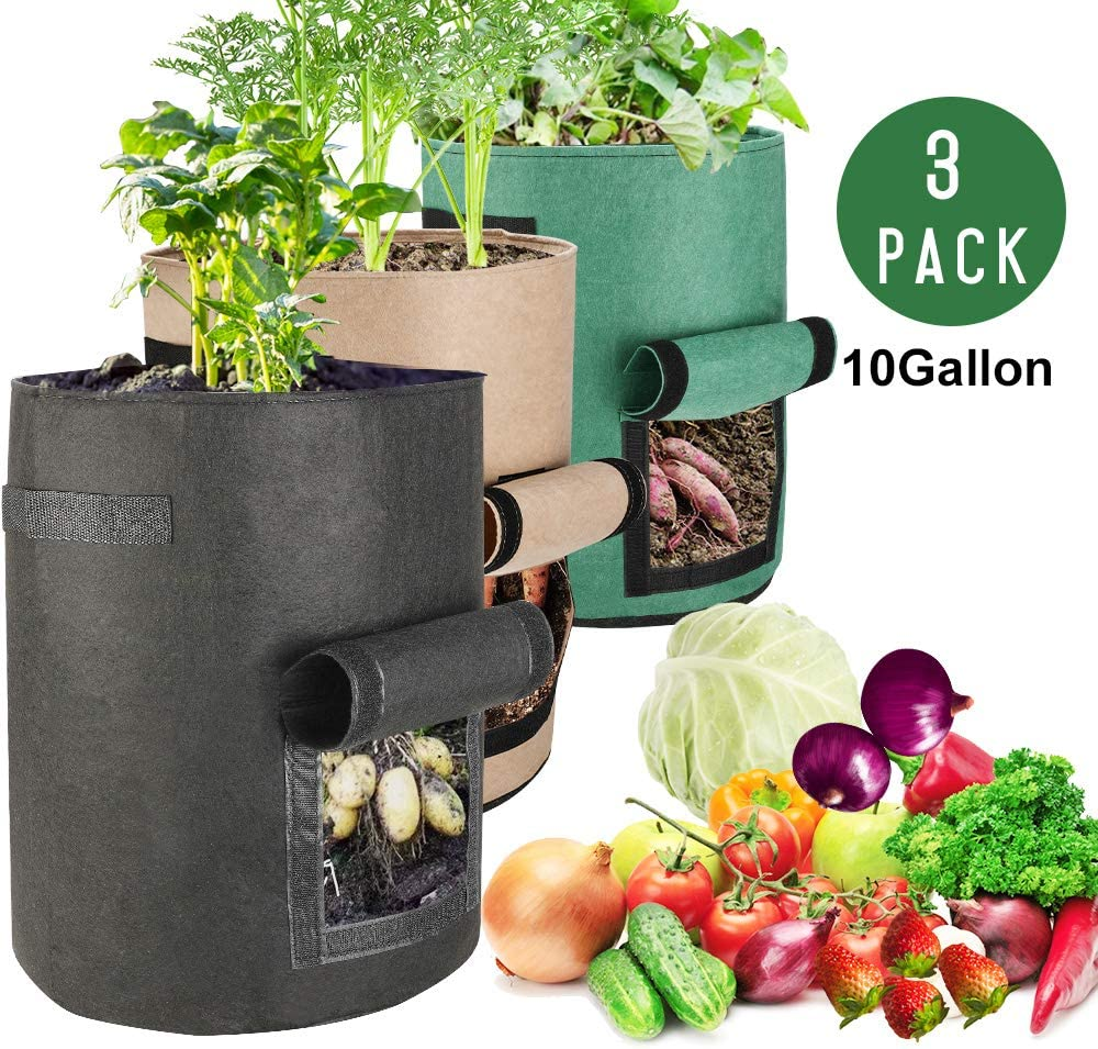 Futone Grow Bags, Potato Planter Bags, Planting Fabric Pots with Handles and Flap, Garden Bags for Vegetables, Tomatoes, Carrots, Onions 10 Gallons – 3 Pack – Various