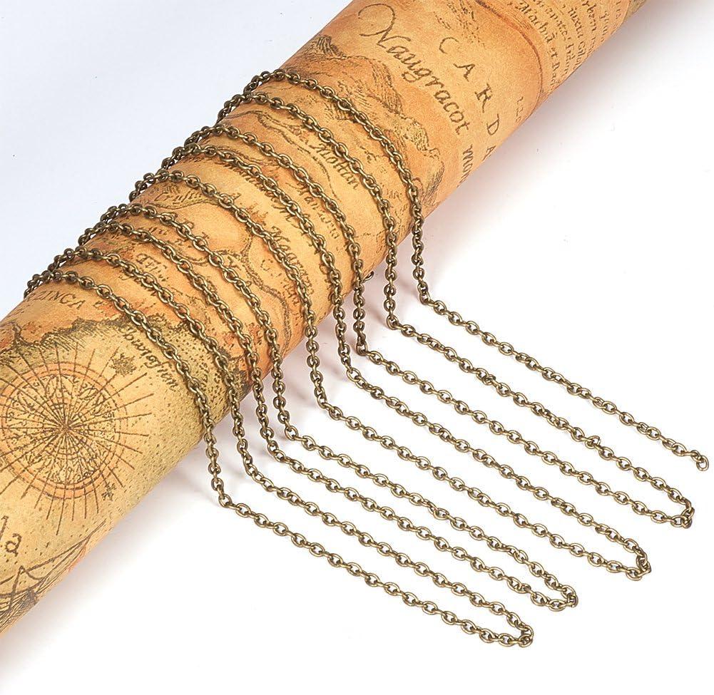 10/m para manualidades de joyer/ía color dorado 3x2.2x0.6mm PandaHall Cadena de hierro Golden