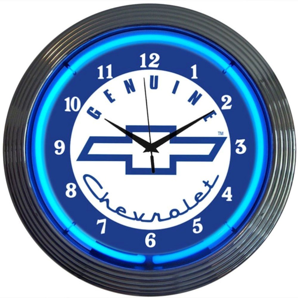 Amazon neonetics cars and motorcycles genuine chevrolet neon amazon neonetics cars and motorcycles genuine chevrolet neon wall clock 15 inch blue chevy home kitchen amipublicfo Image collections