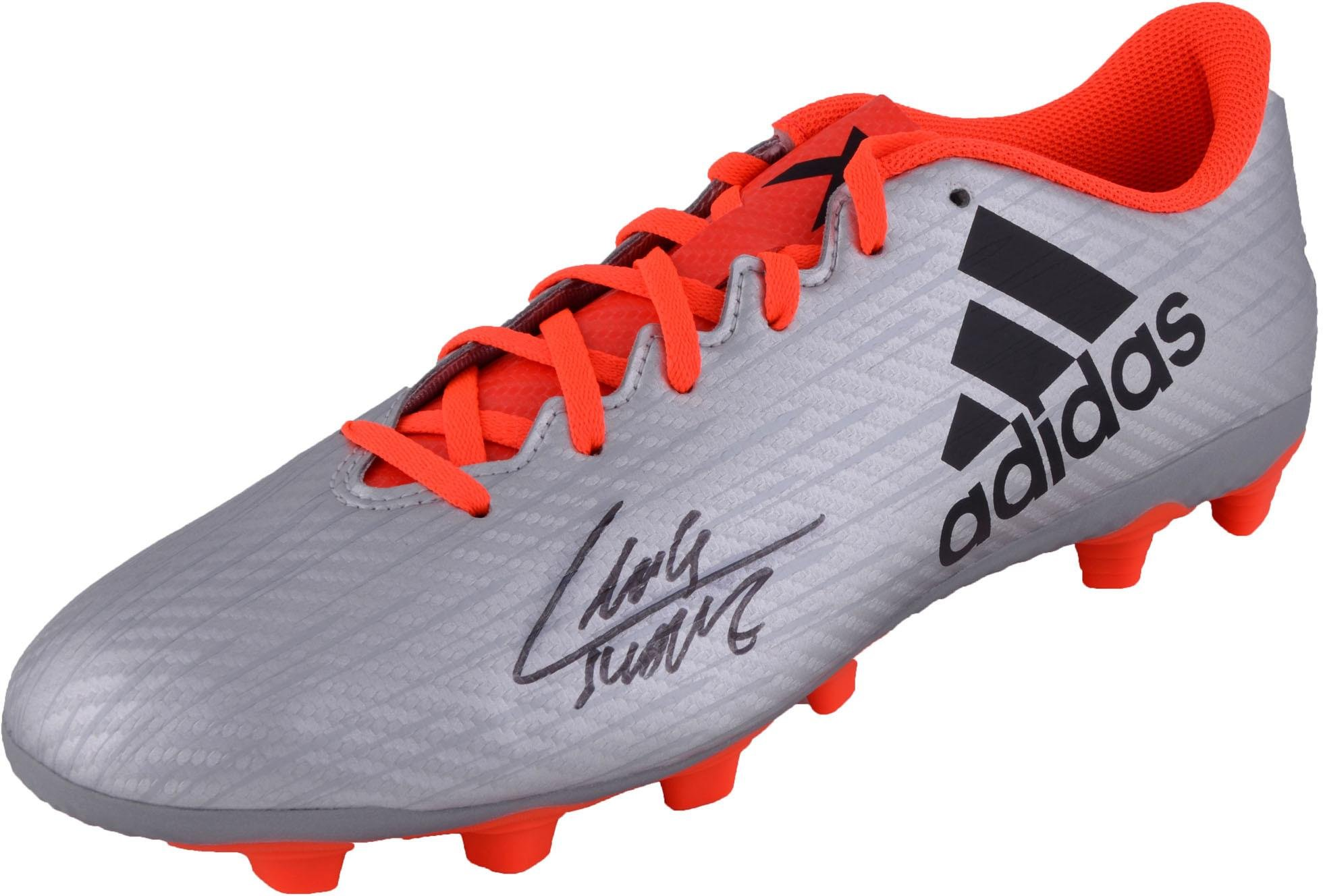 Luis Suarez Barcelona Autographed Adidas Silver and Orange Cleat BAS Fanatics Authentic Certified