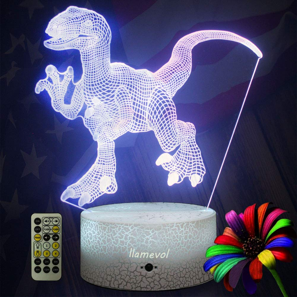 LLAMEVOL Dinosaur Night Lights for Kids Birthday Indoraptor Toy 3D Illusion Lamp Dino Gifts for Boys Home Bedroom Party Supply Decoration 7 Color Blue Raptor Remote Timer by LLAMEVOL (Image #7)