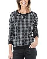 Promod Karo-Sweatshirt für Damen Schwarz bedruckt 42
