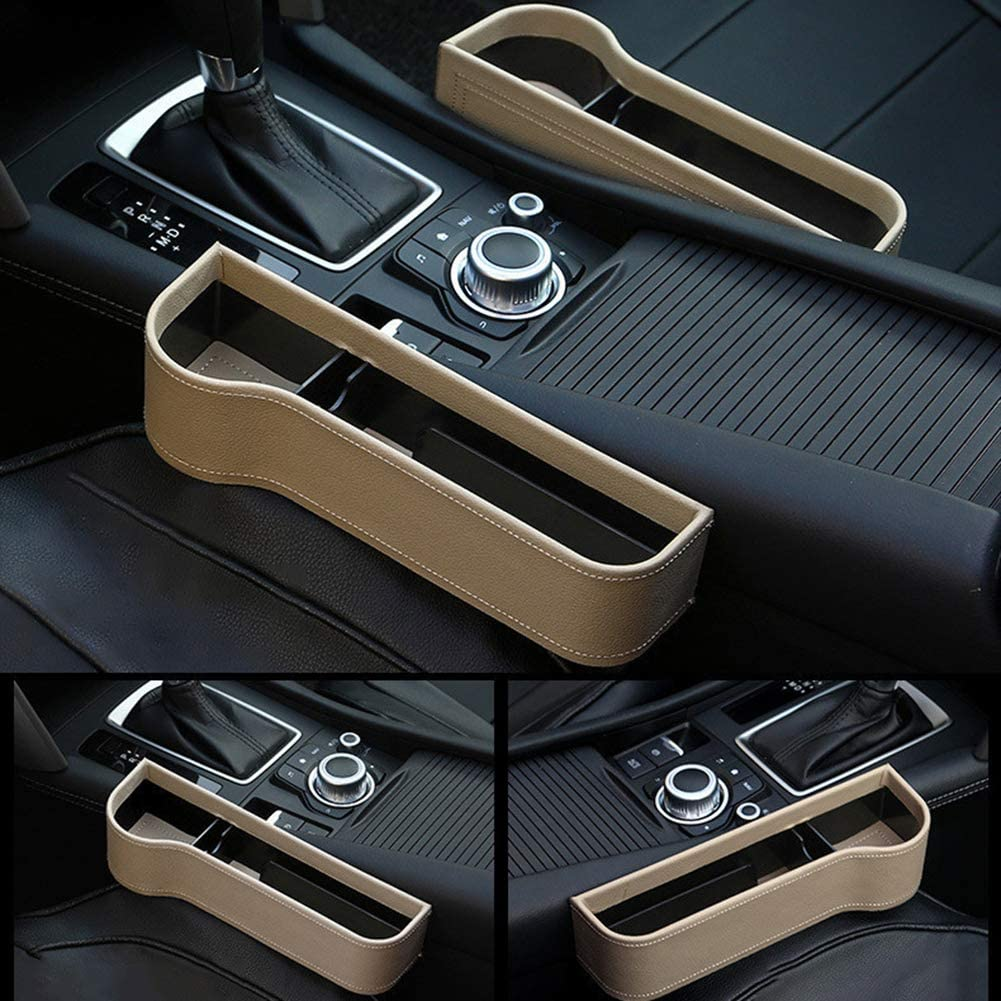 Faux Leather Cars Seat Filler Crevice Gap Organizer Sotrage Box Case Holder Black Co-Pilot Yihanshop Car Storage Organizer