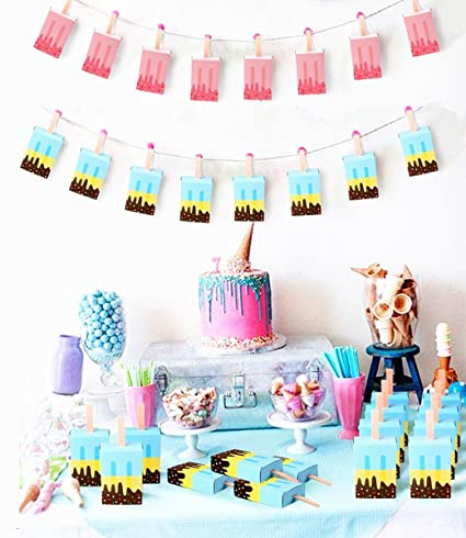 . TECH P Creative Life 50Pcs 25 Pink 25 Blue  Ice Cream Candy Boxes Cute Baby  Shower Favors Boxes Gifts Bags for First Birthday Party Decorations